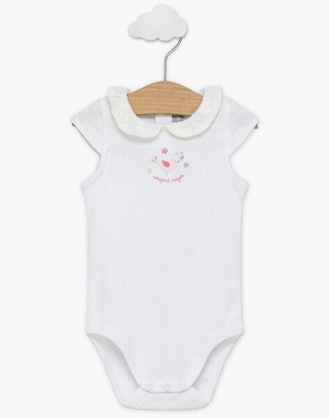 Body blanc manches courtes à imprimé fantaisie bébé fille TALOULOU / 20E1BFJ2BOD000