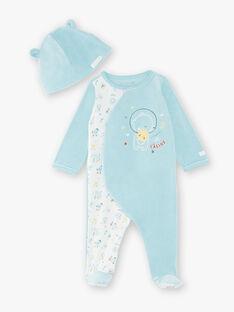 Grenouillère et son bonnet bleu bébé garçon VITTORIO_B / 20H0NG12GRE203