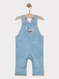 Salopette bébé garçon en velours côtelé bleu   SAOCEAN / 19H1BGE1SALC200