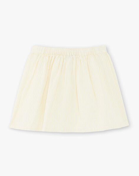 Jupe à rayures jaunes et blanches brodée enfant fille ZIJUPETTE / 21E2PFO1JUPB104