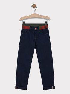Pantalon bleu nuit ceinture élastiquée garçon SAPULAGE / 19H3PG33PAN713