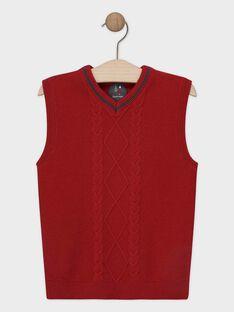 Pull sans manche rouge en tricot garçon SIJACAGE / 19H3PGP1PSM719