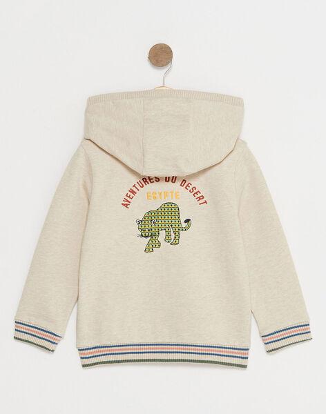 Gilet à capuche molletonné beige motif léopard enfant garçon TOBARAGE / 20E3PGQ1GILA011