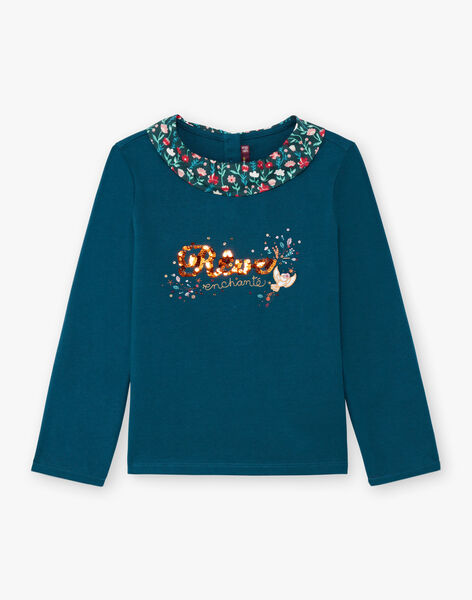 T-shirt manches longues bleu canard à col imprimé fleuri enfant fille BOLORETTE / 21H2PF92TML714