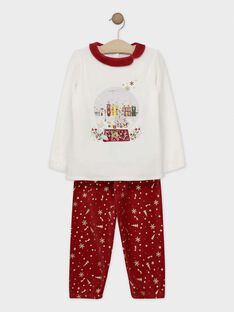 Pyjama en velours écru et rouge imprimé or petite fille SOVICHETTE / 19H5PFQ1PYJ511