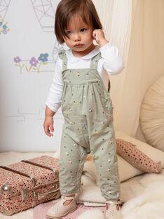 Salopette vert kaki à imprimé fleuri bébé fille BACHARLENE / 21H1BF21SAL604