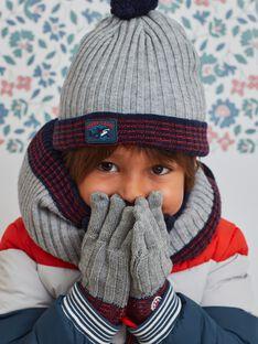 Bonnet en maille gris chiné à pompon enfant garçon BUBONAGE / 21H4PGE1BON943
