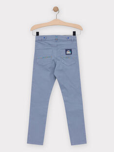Pantalon bleu grisé avec porte clé harmonica garçon  TEDRAGE / 20E3PGG2PANC237