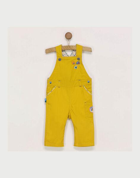 Salopette jaune broderies fantaisie bébé garçon RACEDRIC / 19E1BG61SALB106