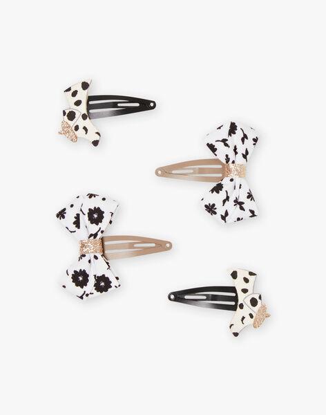 Lot de 4 barrettes assorties dalmatiens et nœuds enfant fille BINOUETTE / 21H4PFSABRT090