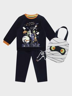 "Pyjama en velours ""spécial halloween"" phosphorescent et sac à bonbons petit garçon  SEHALLOAGE / 19H5PGK1PYJC203"
