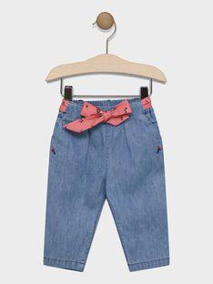 Jeans avec ceinture imprimé bébé fille SACAROLE / 19H1BF31JEAP274