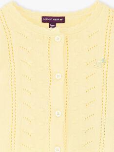 Gilet jaune en maille ajourée bébé fille ZANICKY / 21E1BFO2CARB104