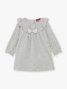Robe jacquard gris chiné à pois et détails volants bébé fille BAORELIA / 21H1BFO1ROB943