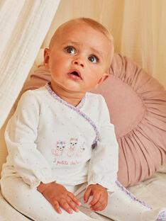 Grenouillère écrue à motifs chats bébé fille BEJOHANA / 21H5BF71GRE001