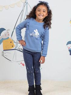 Legging bleu à pois motif lapin enfant fille BYGOETTE / 21H4PFL1CAL715