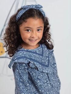 Serre-tête bleu pétrole effet noué imprimé fleuri enfant fille BUSERTETTE / 21H4PFT1TET715