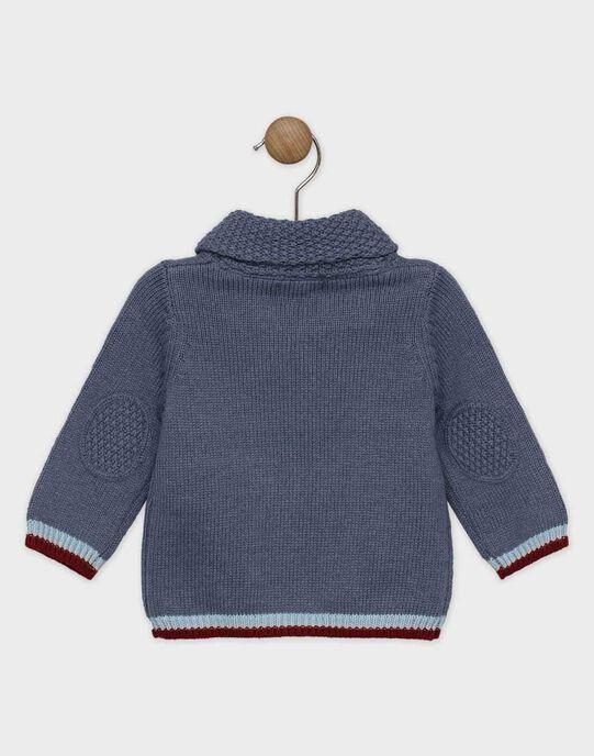 Pull bébé garçon bleu gris à col châle  SAOGUSTIN / 19H1BGE1PULJ901