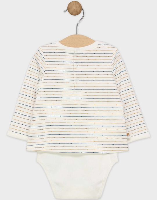 Body tee-shirt bébé garçon écru avec t-shirt en jersey rayé  SAROBERT / 19H1BGI1BOD001