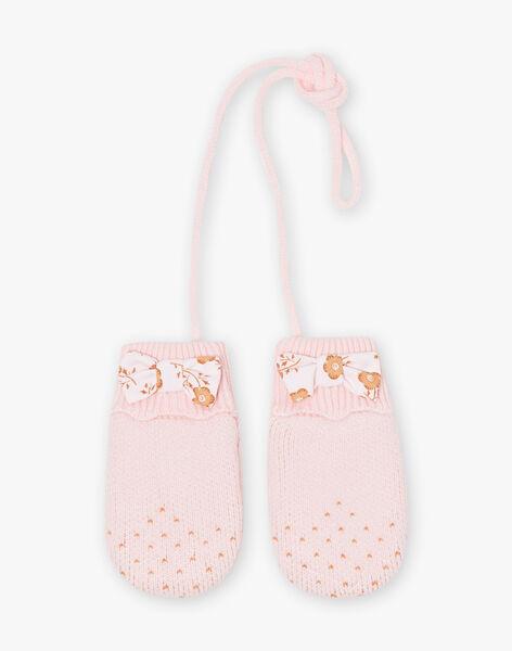Moufles roses en maille à nœud bébé fille BIPROMESSE / 21H4BFD1GAN321