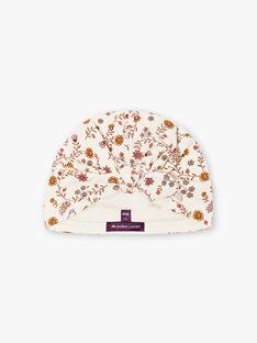 Bonnet turban écru à imprimé fleuri bébé fille BINANA / 21H4BFC4BON001