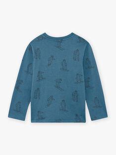 T-shirt bleu imprimé ours fantaisie enfant garçon BOZIDAGE / 21H3PGO2TMLC233