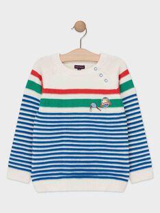 Pull en tricot écru à rayures bleu garçon  TETRICAGE / 20E3PGH1PUL000