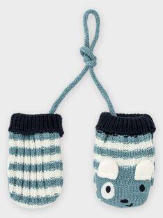 Moufles bleu grisé à rayures bébé garçon TACHERIF / 20E4BGC1GAN001