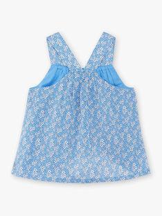 Débardeur bleu à volants imprimé fleuri enfant fille ZUBLIETTE / 21E2PFT1CHEC208