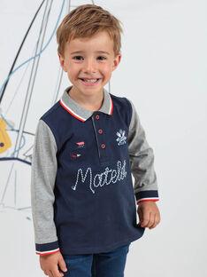 Polo manches longues bicolore motifs marins enfant garçon BINANAGE / 21H3PGL1POLC205