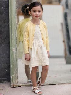 Robe jaune seersuckerceintrée enfant fille ZIRAYETTE / 21E2PFO2CHSB104