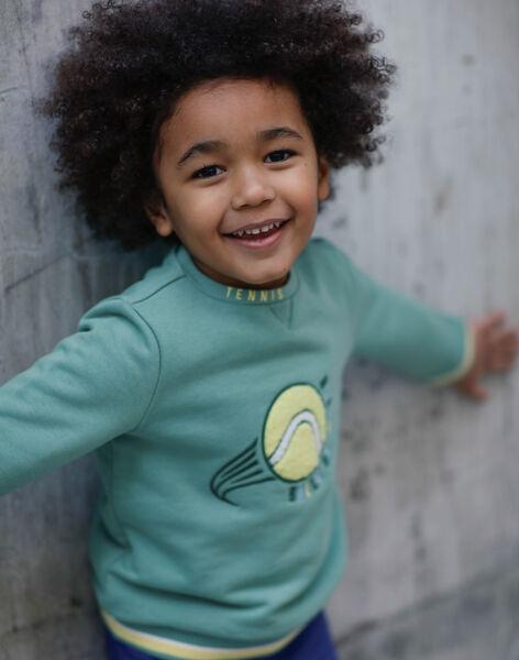 Sweatshirt vert brodé motif balle de tennis enfant garçon ZEMATAGE / 21E3PGO1SWE631