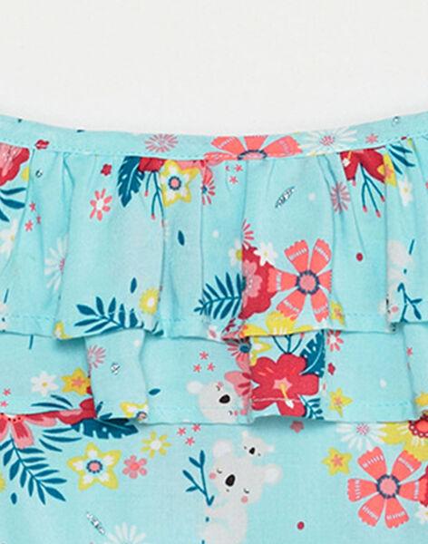 Combinaison short bleu ciel imprimé fleuri enfant fille TEULOETTE / 20E2PFX1SACC242
