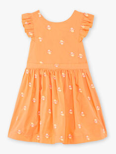 Robe orange à volants et broderies citrons enfant fille ZIBRODETTE / 21E2PFO1CHS406