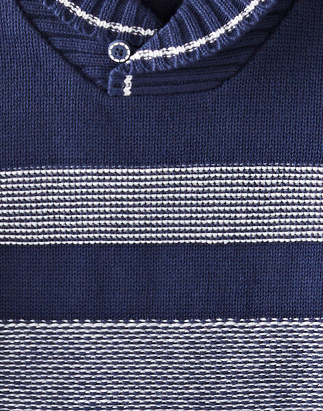 Pull col châle bleu marine et écru VAPULAGE / 20H3PG61PUL070