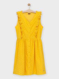 Robe en broderie anglaise jaune femme TOBIEF / 20E2FFG2ROB010