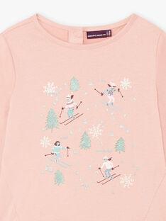T-shirt rose motif ski fantaisie enfant fille BLATISETTE / 21H2PFO1TML318