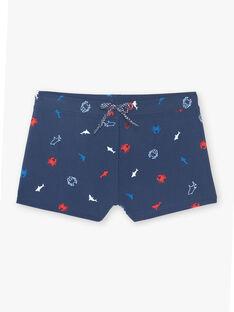 Short de bain bleu marine à imprimé crabe et requin enfant garçon ZYPLAGE / 21E4PGR5MAIC214