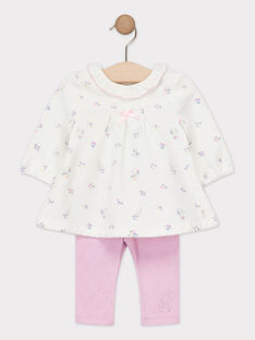 Ensemble robe et son legging ajouré rose bébé fille TYBETH / 20E0CFF1ENS000