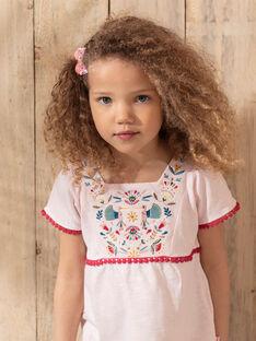 T-shirt manches courtes rose pâle brodé enfant fille TIUVETTE / 20E2PFQ1TMCD317