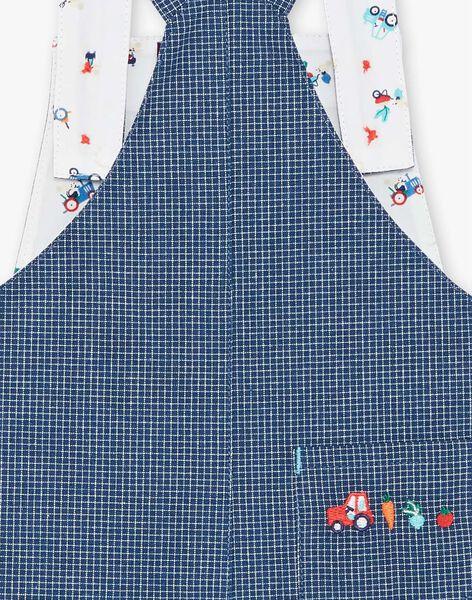 Salopette courte bleu foncé à carreaux  ZAKANT / 21E1BGJ1SACP270