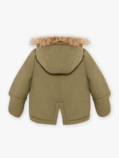 Parka kaki à capuche avec moufles intégrées bébé garçon BIRAPHAEL / 21H1BGE1PAR628