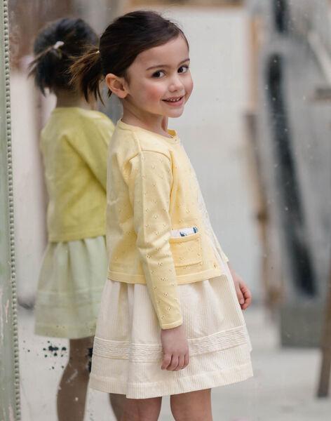 Cardigan jaune en maille ajourée enfant fille ZICADETTE / 21E2PFO1CARB104