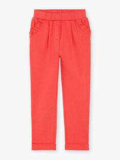 Pantalon de jogging rose à poches volantées enfant fille ZLYZETTE / 21E2PFK2JGB419