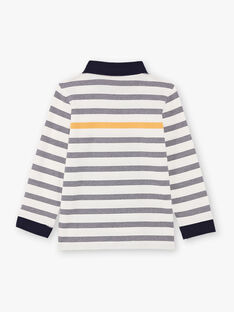 Polo blanc manches longues à rayures bleu marine enfant garçon BUXAGE1 / 21H3PGB2POL001