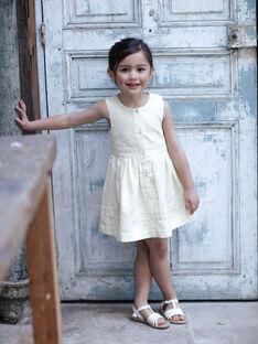 Robe jaune ceintrée seersucker enfant fille ZIRAYETTE / 21E2PFO2CHSB104
