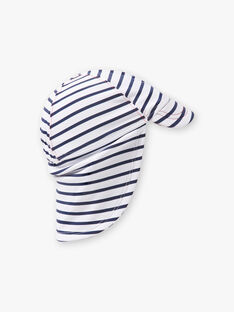 Chapeau blanc à rayures bleu marine bébé garçon ZIRENE / 21E4BGR1CHAC214