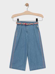 Pantalon fluide couleur jean fille  TOCIETTE / 20E2PFG1PCOP272