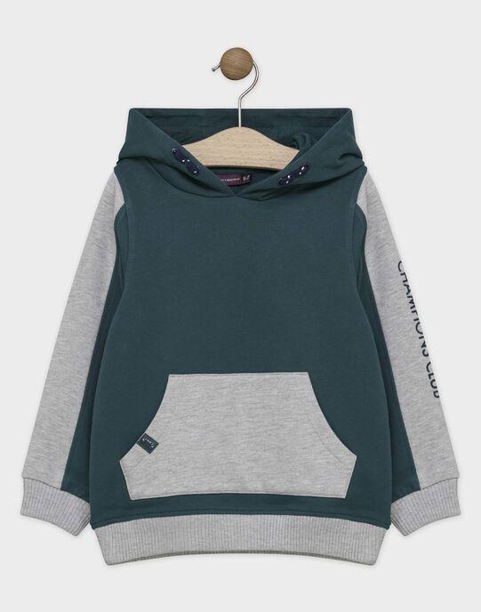 HAUT DE JOGGING à capuche coloris vert anglais et gris chiné SABENAGE-2 / 19H3PGD1SWEG625