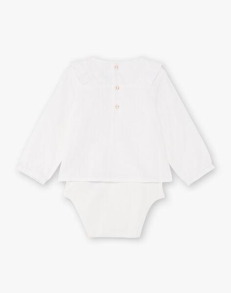 Body manches longues écru détails volants bébé fille BAAPOLINE / 21H1BF12BOD001